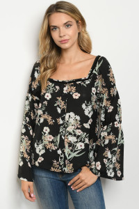 S9-13-2-T10118 BLACK WITH FLOWER PRINT TOP 2-2-2