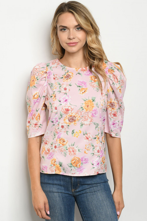 S10-13-4-T10226 PINK FLORAL TOP 2-2-2