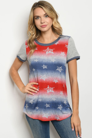 C20-B-1-T7255 RED NAVY WITH STARS PRINT TOP 2-2-2