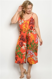 Y-B-J3068X ORANGE WITH LEAVES PRINT PLUS SIZE JUMPSUIT 2-2-2