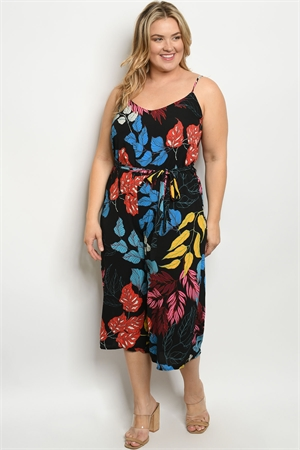 Y-B-J3068X BLACK WITH LEAVES PRINT PLUS SIZE JUMPSUIT 2-2-2