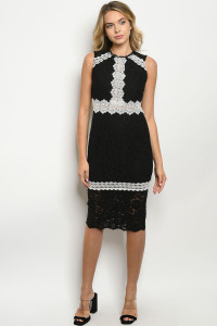 S24-4-3-D1393 BLACK WHITE DRESS 3-2-1