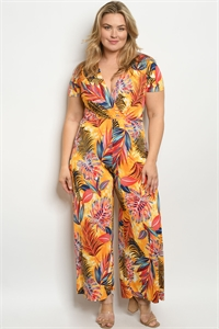 C61-A-1-J3100X MUSTARD MULTI WITH LEAVES PRINT PLUS SIZE JUMPSUIT 2-2-2