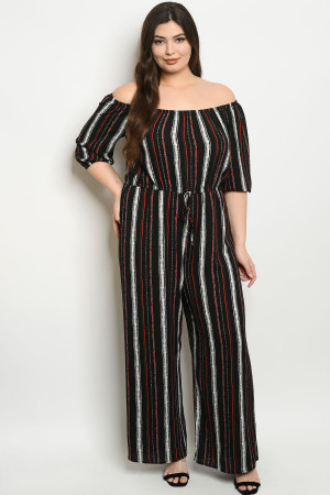 C63-A-1-J1645X BLACK STRIPES PLUS SIZE JUMPSUIT 2-2-2