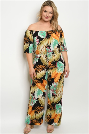 C69-A-2-J1645X BLACK MULTI WITH LEAVES PRINT PLUS SIZE JUMPSUIT 2-2-2