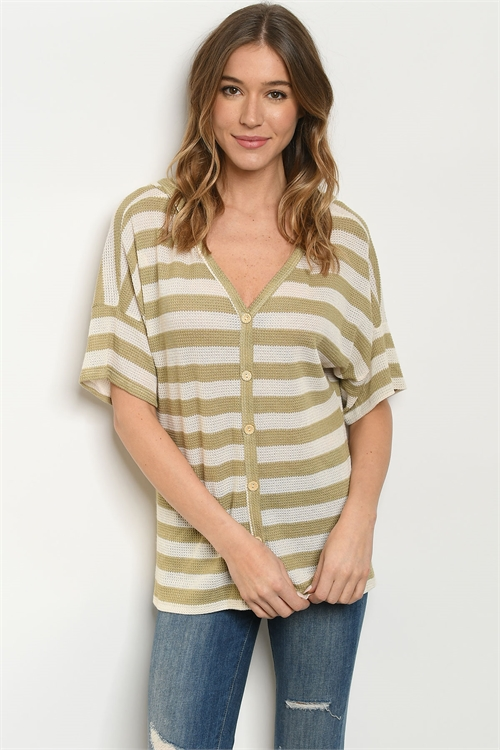 C12-B-2-T1045 OLIVE IVORY STRIPES TOP 2-2-2