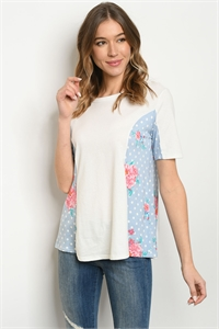 S17-1-3-T9239 IVORY BLUE PRINT TOP 1-1-1