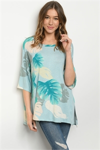 C19-B-2-T9450 BLUE WITH LEAVES PRINT TOP 2-2-2