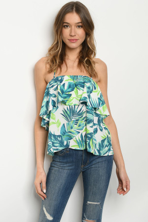 S23-12-5-T7477 OFF WHITE GREEN TOP 2-2-2