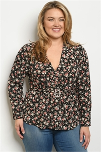 S13-8-1-T49301X BLACK FLORAL PLUS SIZE TOP 2-2-2