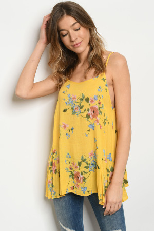 C12-A-2-T8131 YELLOW FLORAL TOP 2-2-2