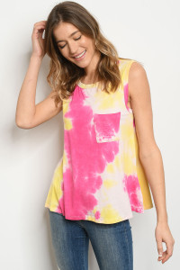 C23-B-1-T9270 FUCHSIA YELLOW TOP 2-2-1