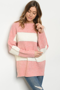 S25-8-1-S0038 PINK IVORY SWEATER 3-2-1