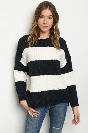 S25-8-1-S0038 NAVY IVORY SWEATER 3-2-1