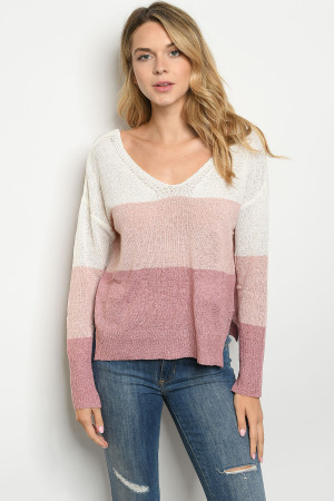 S10-1-2-T0304 PINK MAUVE SWEATER 3-2-1