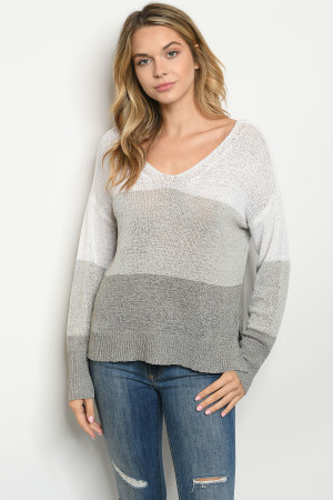 S7-1-1-T0304 IVORY GRAY SWEATER 3-2-1