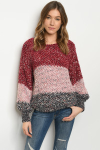 S25-8-1-S0032 BURGUNDY MULTI SWEATER 3-2-1