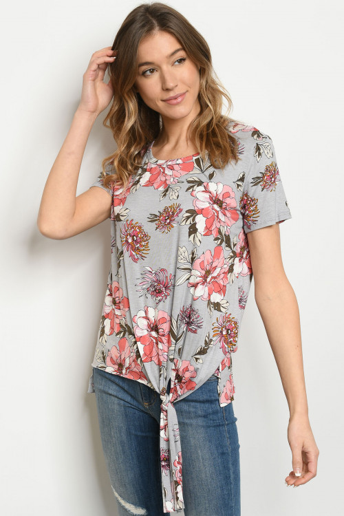 C36-A-3-T50957 GRAY FLORAL TOP 2-2-2