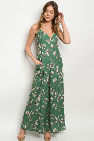 S22-10-2-J3815 GREEN FLORAL JUMPSUIT 4-2-1