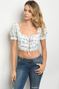 S18-10-4-T3272 WHITE BLUE FLORAL TOP 3-2-1