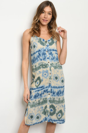 C69-A-3-D1245 BLUE CREAM TIE DYE DRESS 2-2-2