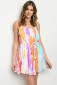 S18-10-3-D2009 MULTI TIE DYE DRESS / 4PCS