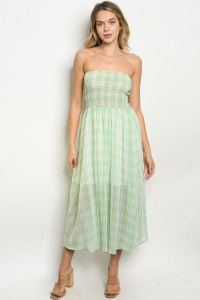 S23-12-1-D6082 GREEN CHECKERED DRESS 2-2-2