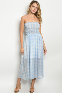 S22-13-1-D6082 BLUE CHECKERED DRESS 3-2-2