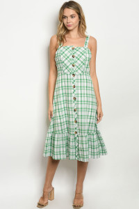 S22-13-1-D8028 GREEN CHECKERED DRESS 3-2-2