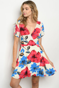 S10-10-2-D20800 CREAM RED FLORAL DRESS 2-2-2