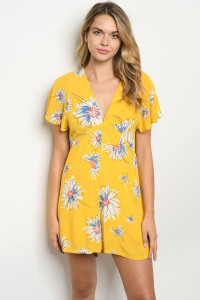S12-5-2-R40666 YELLOW FLORAL ROMPER 2-2-2