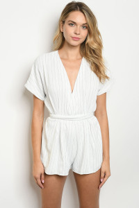 S12-6-3-R41093 WHITE NAVY STRIPES ROMPER 3-2-1