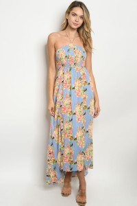S9-16-2-D20832 BLUE WITH FLOWER PRINT DRESS 3-2-2