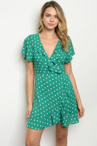 S12-8-4-D21136 GREEN WITH DOTS DRESS 3-2-1