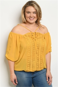 S9-19-1-T9911X MUSTARD PLUS SIZE TOP 2-2-2