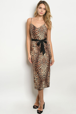 S23-13-5-D0126 BROWN ANIMAL LEOPARD PRINT DRESS 3-2-1