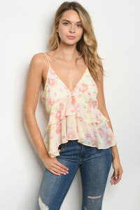 S15-9-3-T2715 YELLOW FLORAL TOP 1-3-2