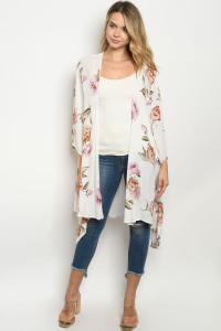 C48-A-7-C1129 IVORY FLORAL CARDIGAN 2-2-2