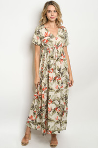 C54-A-4-D3145 IVORY WITH FLOWER PRINT DRESS 2-2-2