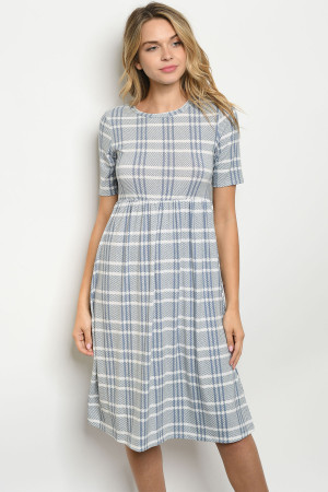 C56-A-2-D3013 BLUE CHECKERED DRESS 2-2-2