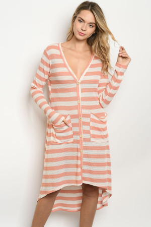 C66-A-2-D1033 PEACH IVORY STRIPES DRESS 2-2-2