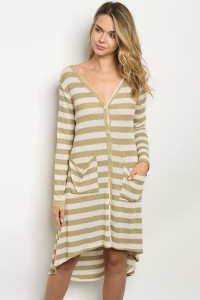 C66-A-6-D1033 OLIVE IVORY STRIPES DRESS 2-2-2