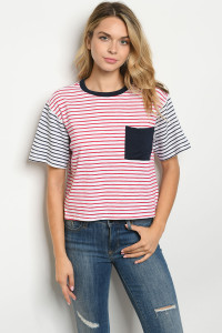 C13-B-1-T30001 NAVY RED STRIPES TOP 3-2-2