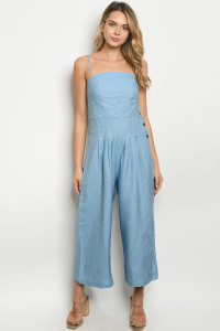 S11-9-1-J176 BLUE WHITE POLKA DOTS JUMPSUIT 2-2-2
