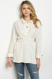 S22-6-1-T128 IVORY STRIPES TOP 2-2-2