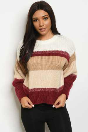 S25-8-1-S2407 MULTI STRIPES SWEATER 3-2-1
