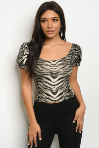 C12-B-3-T3961 IVORY BLACK TIGER ZEBRA ANIMAL PRINT WITH SEQUINS TOP 2-2-2  ***WARNING: California Proposition 65***