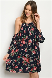 S22-13-3-D6232 NAVY WITH ROSES PRINT DRESS 2-1