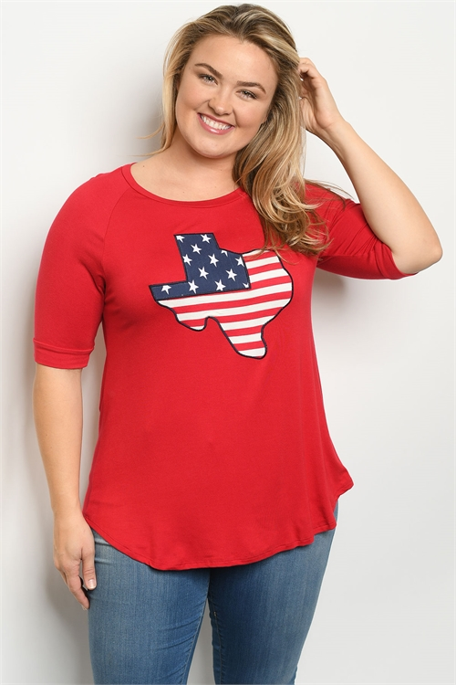 "C15-A-1-T4380X RED ""TEXAS"" PATCH PLUS SIZE TOP 2-2-2"