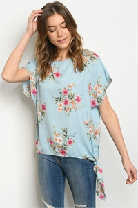 C47-A-3-T9069 LIGHT BLUE FLORAL TOP 2-2-2